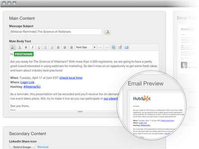 Here is a screenshot to give you an idea of what sending an email with HubSpot will feel like.  (PRNewsFoto/HubSpot)