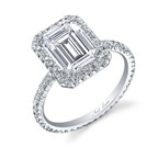 Platinum and diamond ring set with a central emerald cut diamond weighing 2.5 carats. Accented with 87 smaller round-cut diamonds. Approximate total weight 3.5 carats. Hand made, designed and signed by Neil Lane.  (PRNewsFoto/Warner Horizon)