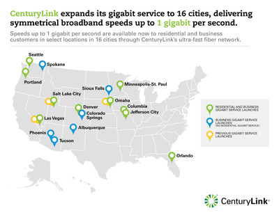 CenturyLink expands its gigabit service to 16 cities, delivering symmetrical broadband speeds up to 1 gigabit per second.