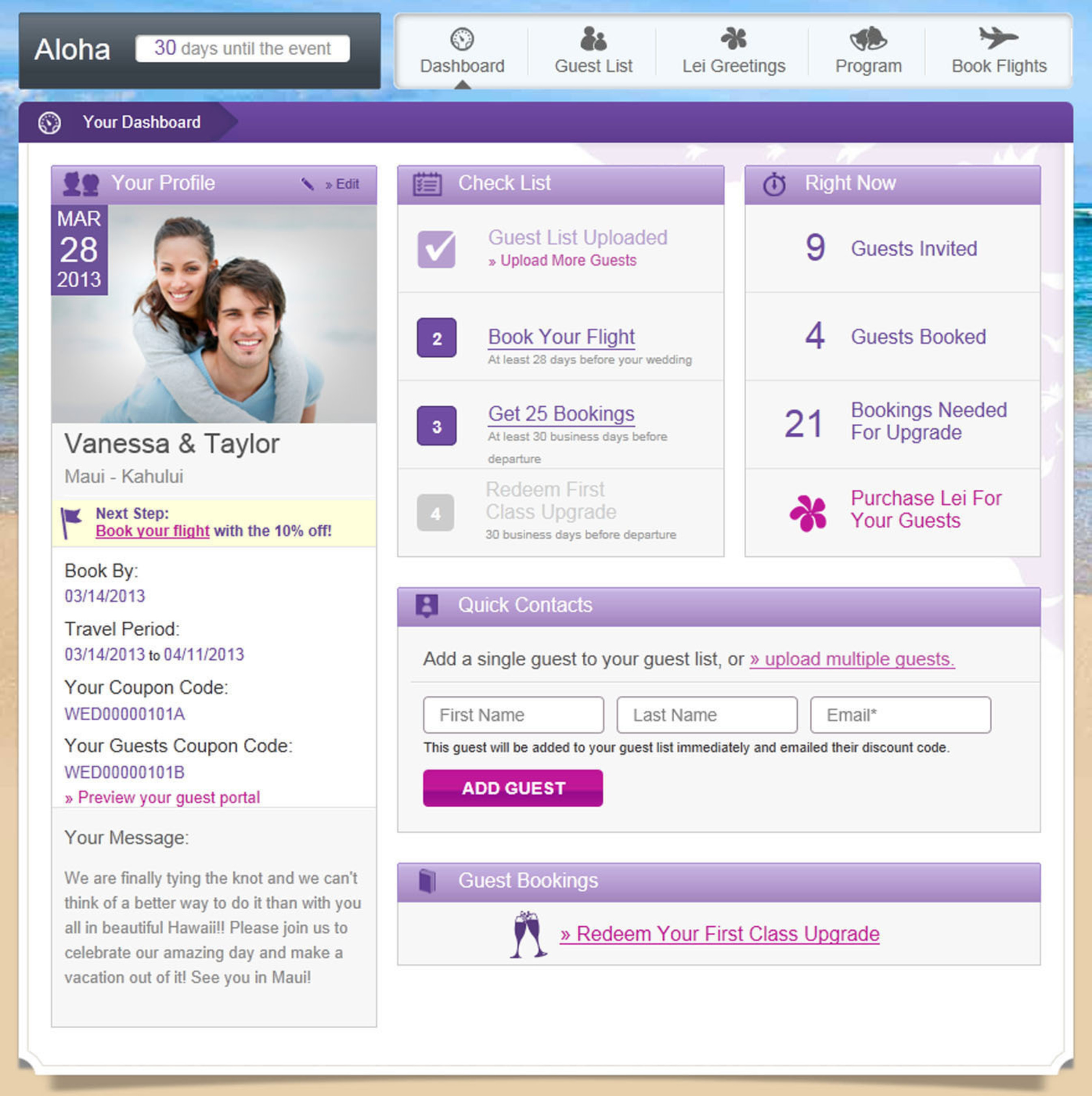 Hawaiian Airlines' new Wedding Wings program helps couples save money and make travel plans to hold a ...