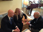 Florida State Senator Joseph Abruzzo, Victoria McCullough, and Vice President Joe Biden discuss horse welfare and slaughter at the VP's residence.  (PRNewsFoto/Equine Welfare Alliance, Inc.)