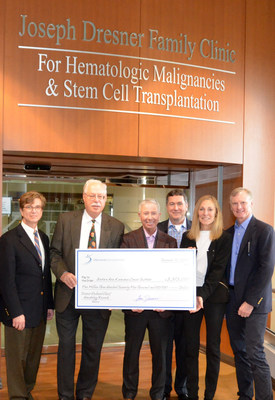 The Barbara Ann Karmanos Cancer Institute in Detroit, Mich., will build on the success of its blood-related cancer services thanks to a $5,375,000 grant from the Dresner Foundation. The grant will be distributed over the next five years and will elevate the Institute's leadership in hematologic malignancies research. Accepting the grant from the Karmanos Cancer Institute are (from left) Gerold Bepler, M.D., Ph.D., president and CEO; and Charles Schiffer, M.D. They are joined by Dresner Foundation representatives Gary Weisman, vice president; Kevin Furlong, CEO/CFO; Lori Dresner, president; and her husband Peter Wycoff.