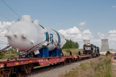 The 225,000-pound Vogtle Unit 4 pressurizer, fabricated in Italy and delivered to the Vogtle nuclear expansion in May.