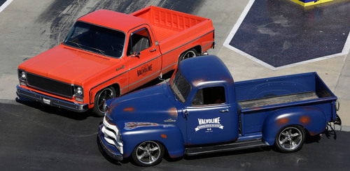 Dale Jr.'s 1974 Chevrolet Cheyenne Super 10 pickup, and Jimmie's 1955 Chevrolet truck are revealed as part of the Valvoline Reinvention Project.  (PRNewsFoto/Valvoline)