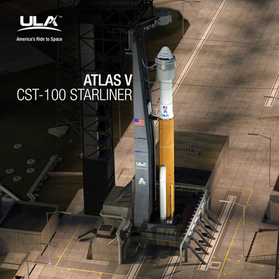 A United Launch Alliance (ULA) Atlas V rocket with the CST-100 Starliner capsule on Space Launch Complex-41 at Cape Canaveral Air Force Station. The Atlas V carrying Starliner will launch American astronauts from U.S soil to the International Space Station beginning in 2018. -- Photo Courtesy of ULA/Boeing