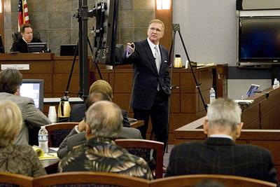 Plaintiff's attorney Robert Eglet in Anne Arnold hepatitis C trial in Nevada. Plaintiffs have rested their case.  (PRNewsFoto/SCM)