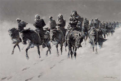 Thirty Below and a Blizzard Raging - Oil on canvas signed by Frederic Remington - is one of more than 300 lots for sale online at the Scottsdale Art Auction taking place April 5 via The Finest.  (PRNewsFoto/The Finest)