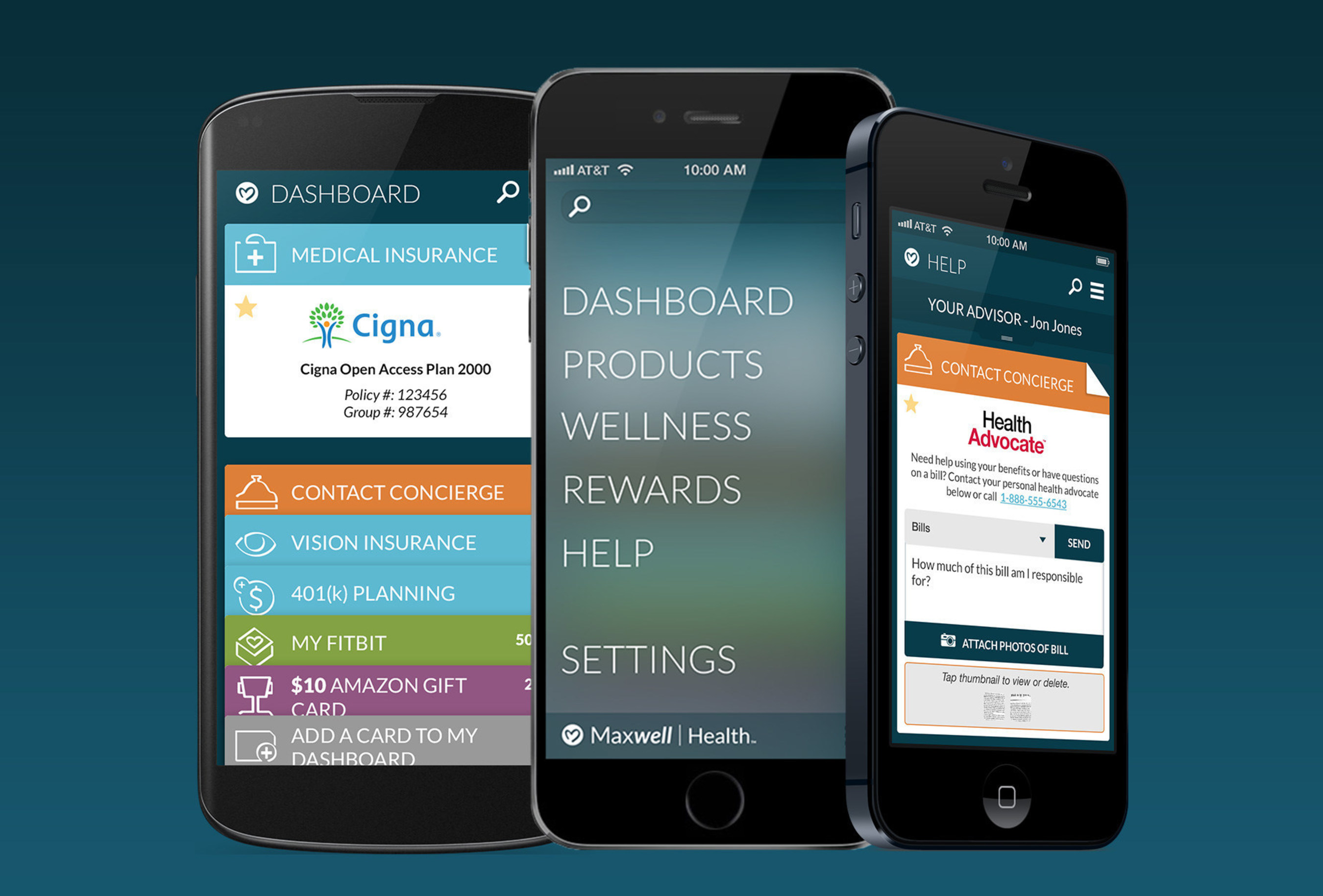 Maxwell Health's mobile app provides full transparency into insurance and employee benefits with a virtual insurance ID card, incentivizes healthy behavior with a wellness program and rewards store, and integrates with best in class services so that insurance and benefits are easy and awesome.