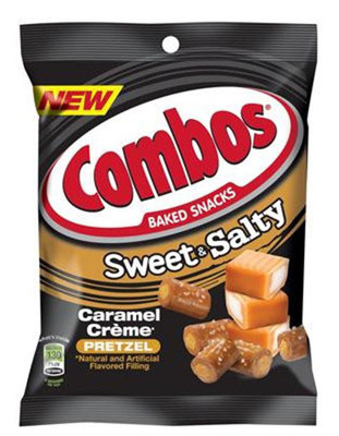 COMBOS SWEET AND SALTY CARAMEL CREME PRETZEL - FAMILY PEG PACK - 6.0 OZ - 12/CA