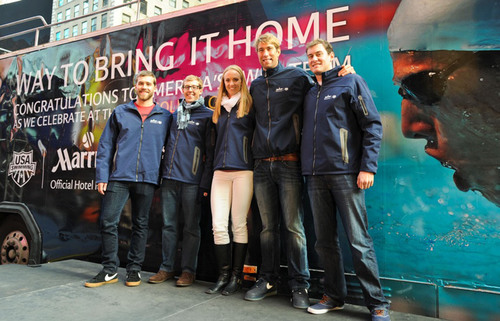 Fans of record-setting America's Swim Team met Gold Medalists Nick Thoman, Tyler McGill, Dana Vollmer, Matt Grevers and Peter Vanderkaay at the Marriott Marquis Times Square.  Top swimmers including Michael Phelps, Ryan Lochte and Matt Grevers will reunite with Summer-Game teammates to take part in the 2012 USA Swimming Golden Goggle Awards. The U.S. Team that dominated the pool in the London Summer Games, taking home an impressive 31 medals, finally have a chance to celebrate at The Golden Goggle Awards, a star-studded gala celebrating ...