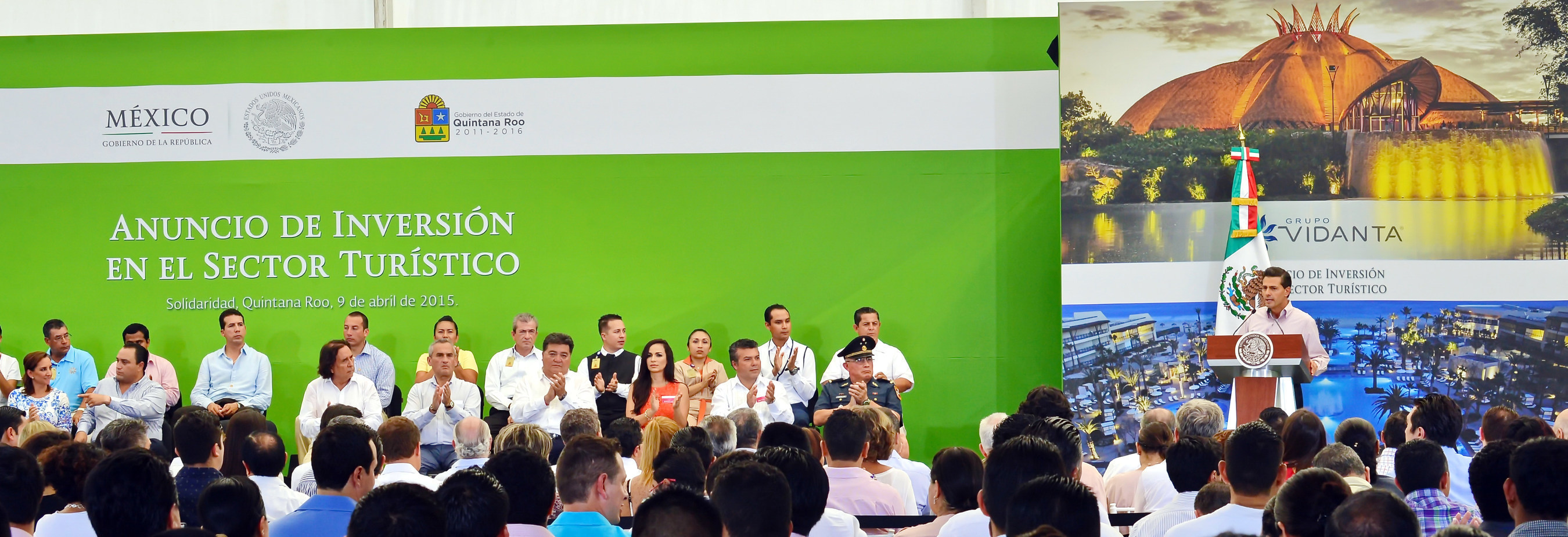 President Enrique Pena Nieto of Mexico praises the investment in tourism by Grupo Vidanta and Daniel Chavez Moran during an April 9, 2015, press conference at the Vidanta Theater in Riviera Maya.