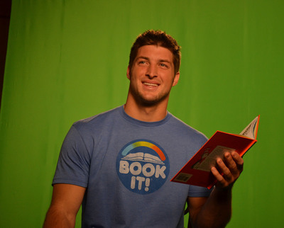 Tim Tebow will quarterback the 2012 America's Biggest Storytime event for the Pizza Hut BOOK IT! Reading Program. Tim will read his favorite childhood book, Green Eggs and Ham by Dr. Seuss, during the February 15, 2012 webcast.  (PRNewsFoto/Pizza Hut)