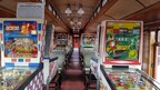 Pinball Pendolino at Strasburg Rail Road features 12 vintage pinball machines, allowing passengers to test their skill (and luck) navigating the playfield as the massive steam train chugs to Paradise, PA and back.