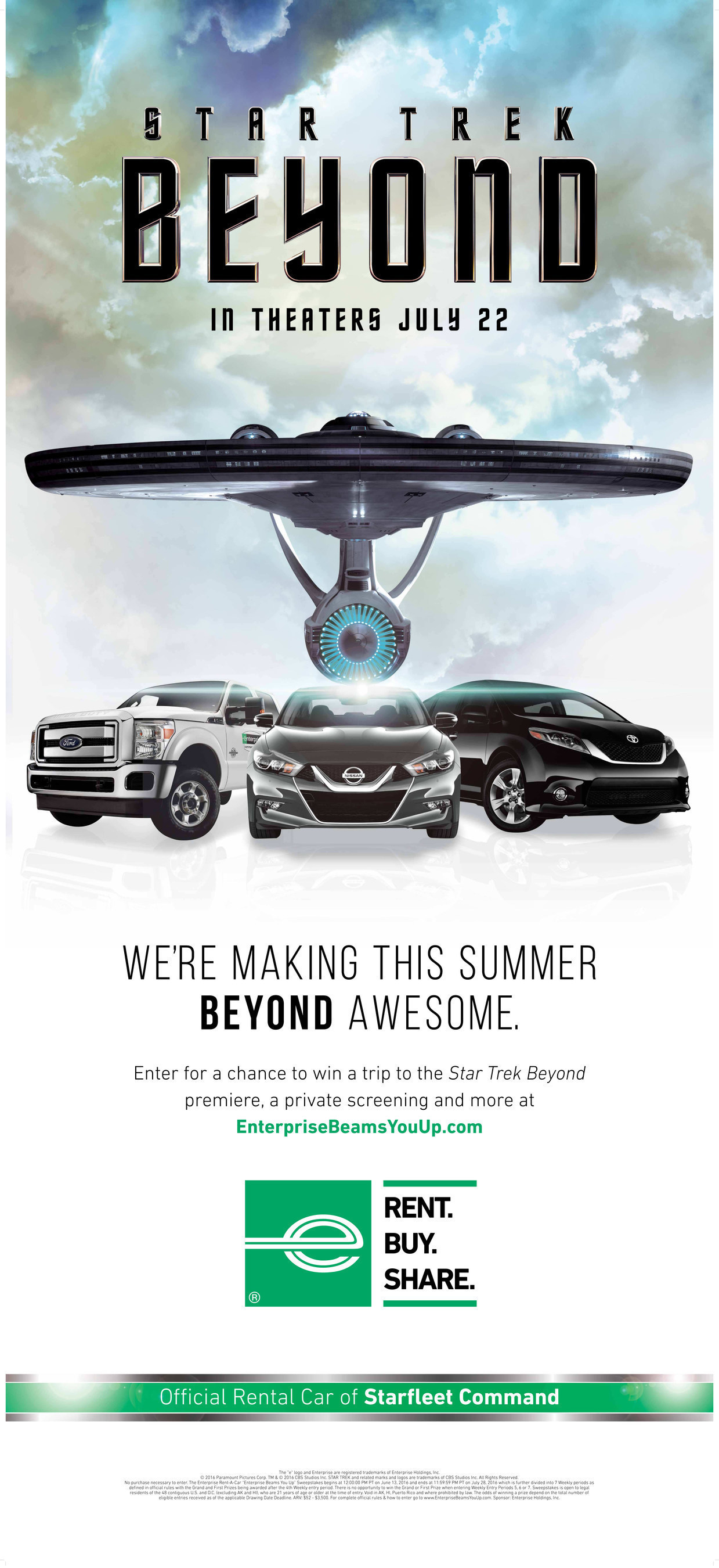Until We Can Beam You Up, We'll Pick You Up. Enterprise Rent-A-Car Partners with Paramount Pictures for Launch of New 'STAR TREK BEYOND' Movie