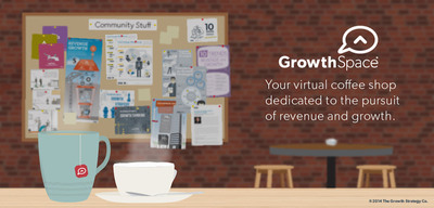 The GrowthSpace(R) community is a virtual alternative to a traditional coffee shop, where busy, mobile members can find inspiration, generate ideas and interact with their peers around the #1 issue on any business leader's  agenda - generating sustainable revenue and growth.  (PRNewsFoto/The Growth Strategy Company)