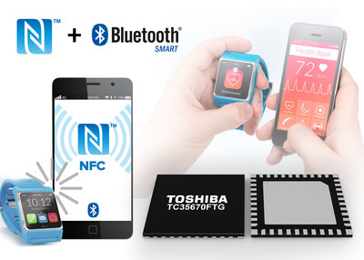 The new Toshiba TC35670FTG is a low power consumption, dual-capability IC that supports both Bluetooth Low Energy (BLE) and NFC Type 3 Tag functions. The chip is designed for use in Bluetooth Smart devices such as touch-and-start smartphone accessories and wearable healthcare devices.