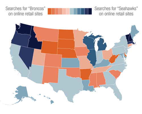 Heatmap representation of state-by-state search activity for Seahawks and Broncos fan gear shows Seattle team popularity on East and West Coasts, and Denver team popularity throughout the Central U.S. Image provided by SLI Systems. (PRNewsFoto/SLI Systems) (PRNewsFoto/SLI SYSTEMS)