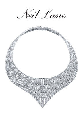 Diamond and platinum princess necklace.  Designed, hand-made and signed by Neil Lane. Approximate total weight of all diamonds is 100 carats.  (PRNewsFoto/Warner Horizon)