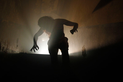 """NEW for 2013: ScareHouse haunted house in Pittsburgh presents """"The Basement."""" This intense and intimate haunted attraction features adult content, explicit language, crawling, handcuffs, and physical contact with disturbing characters in disgusting situations. All guests must be 18 or older and willing to sign a waiver before entering. Visit https://www.scarehouse.com for more information about ScareHouse, one of America's scariest haunted houses. (PRNewsFoto/The ScareHouse) (PRNewsFoto/THE SCAREHOUSE)"""