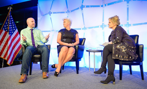 National 4-H Council Legacy Awards Emcee Nancy Grace Talks Youth Impact and STEM with Honorees Andrew Bosworth, Facebook Executive and Anne Burrell, Celebrity Chef. (PRNewsFoto/National 4-H Council) (PRNewsFoto/NATIONAL 4-H COUNCIL)