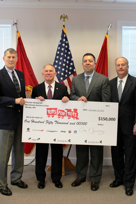 Chrysler Group LLC's Mid-Atlantic Business Center (MABC) presented representatives from the Toys for Tots Foundation with a check for $150,000. From left to right, Toys for Tots representatives Major Bill Grein, USMC Ret., Lieutenant General Pete Osman, USMC Ret., and representatives from Chrysler Group's Mid-Atlantic Business Center, Carlos Jimenez, director and Charlie Glymph, marketing manager.  (PRNewsFoto/Chrysler Group LLC)