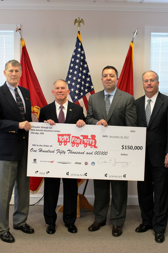 Chrysler Group LLC's Mid-Atlantic Business Center Presents Toys for Tots Foundation With $150,000