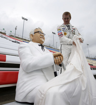 Front Row Motorports Driver, Cole Whitt, Helps Kentucky Fried Chicken Unveil Colonel Sanders As First Ever Fan to Secure Seat For Life at Kentucky Speedway #SandersSelfie