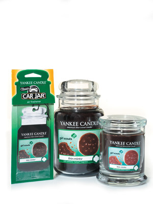 Yankee Candle's new Girl Scout Cookies Limited Edition Candle Collection comes in three different forms: Car Jar Air Freshener, Large Jar Candle and Small Tumbler Candle.