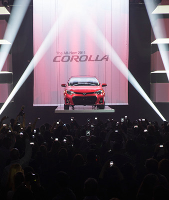 The all-new 2014 Toyota Corolla was revealed at a packed celebration inside Barker Hangar in Santa Monica, Calif. on the night of June 6, 2013.  (PRNewsFoto/Toyota, Joe Polimeni)