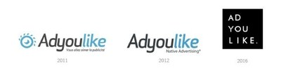 Chronology of the ADYOULIKE logos (PRNewsFoto/ADYOULIKE)