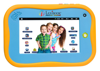 Developed especially for kids, Lexibook(R) tablets combine educational, multimedia and interactive activities, empowering children to play and learn using their very own tablet. The double injection molded plastic casing is solidly constructed to hold up to kids at play -- even in the hands of its youngest users. The easy-to-use interface can be intuitively navigated by all ages. The scrolling menu makes it easy for kids to access a treasure trove of apps, games, music, videos, cartoons and books.  (PRNewsFoto/Lexibook)