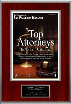 Attorney Steven G. Teraoka Selected for List of Top Rated Lawyers in CA.