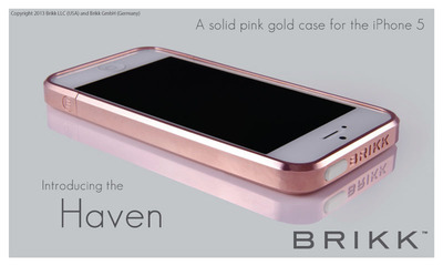 The Haven by Brikk. A luxury solid pink gold iphone case for the iPhone 5. Over 75 grams of solid gold makes this case. www.brikk.com.  (PRNewsFoto/Brikk)