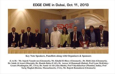 EDGE CME in Dubai, Oct 11, 2013: Key Note Speakers, Panellists along with Organisers & Sponsors: (L to R) - Mr. Sujesh Vasudevan (Glenmark), Mr. Khalid El-Biecy (Glenmark) , Dr. Rishi Jain (Glenmark), Dr. Salah Al Azawi (Sharjah), Dr. Hanish Babu (UAE), Dr  Anwar Al Hammadi (Dubai), Prof Lynn McKinley-Grant (Washington, DC, USA), Dr. Samir Al-Ali (Abu Dhabi), Prof Vidya Kharkar (Mumbai, India), Prof Tariq Mughal (Boston, Massachusetts, USA), Mr. Rajesh Ramadurai (Glenmark)