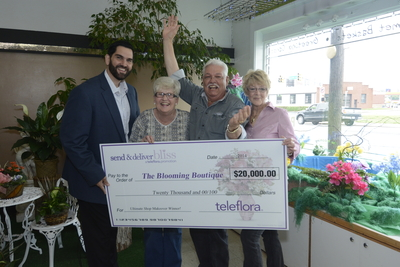 """Jeff Newlin of Teleflora Presents Check for $20,000 to Joyce Burnett, Jerry Ellis and Kathleen Wilson of The Blooming Boutique Nashville in Nashville, Tennessee, the """"Send & Deliver Bliss"""" Promotion Grand Prize Winner. (PRNewsFoto/Teleflora)"""