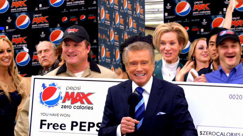 "Regis Philbin is featured in the new Pepsi MAX Super Bowl commercial ""Check-Out,"" surprising a startled  ..."