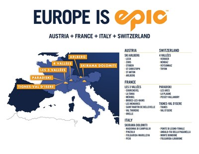 Europe is Epic! Vail Resorts adds iconic European ski resorts in France, Italy, Switzerland and Austria to the industry-leading Epic Pass which already includes the best skiing in the U.S. and Australia