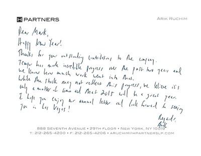 Note from Arik Ruchim, H Partners Principal