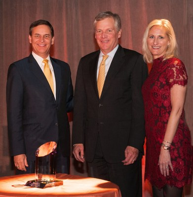 Keep America Beautiful honored Caterpillar Inc. with its 2015 Vision for America Award on Wednesday, Nov. 4, for the company's commitment to sustainability. Pictured, from left: Jay Timmons, President & CEO, National Association of Manufacturers, and 2015 Vision for America Award Dinner Chairman; Doug Oberhelman, Chairman & CEO, Caterpillar Inc., who accepted the Award on behalf of Caterpillar; and Jennifer Jehn, President & CEO, Keep America Beautiful. (Photo by Kate Eisemann)