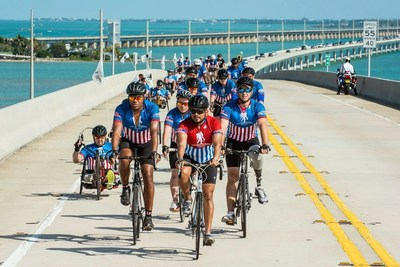 Participants riding through South Florida during the 2015 Soldier Ride.