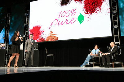 100% Pure Co-Founders, Ric Kostick and Susie Wang, pitching their natural fruit pigments concept to businessman and Shark Tank star, Mark Cuban, and Co-Founder and CEO of Paul Mitchell Systems, John Paul DeJoria at the first annual Beauty Pitch 2015
