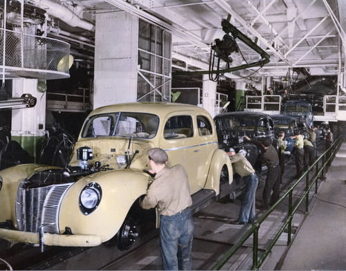 A colorized photo of the assembly line in the 1940s. Ford Motor Company celebrates 100 years of the moving assembly line -- an innovation that changed the world -- on Oct. 7, 2013.  (PRNewsFoto/Ford Motor Company)