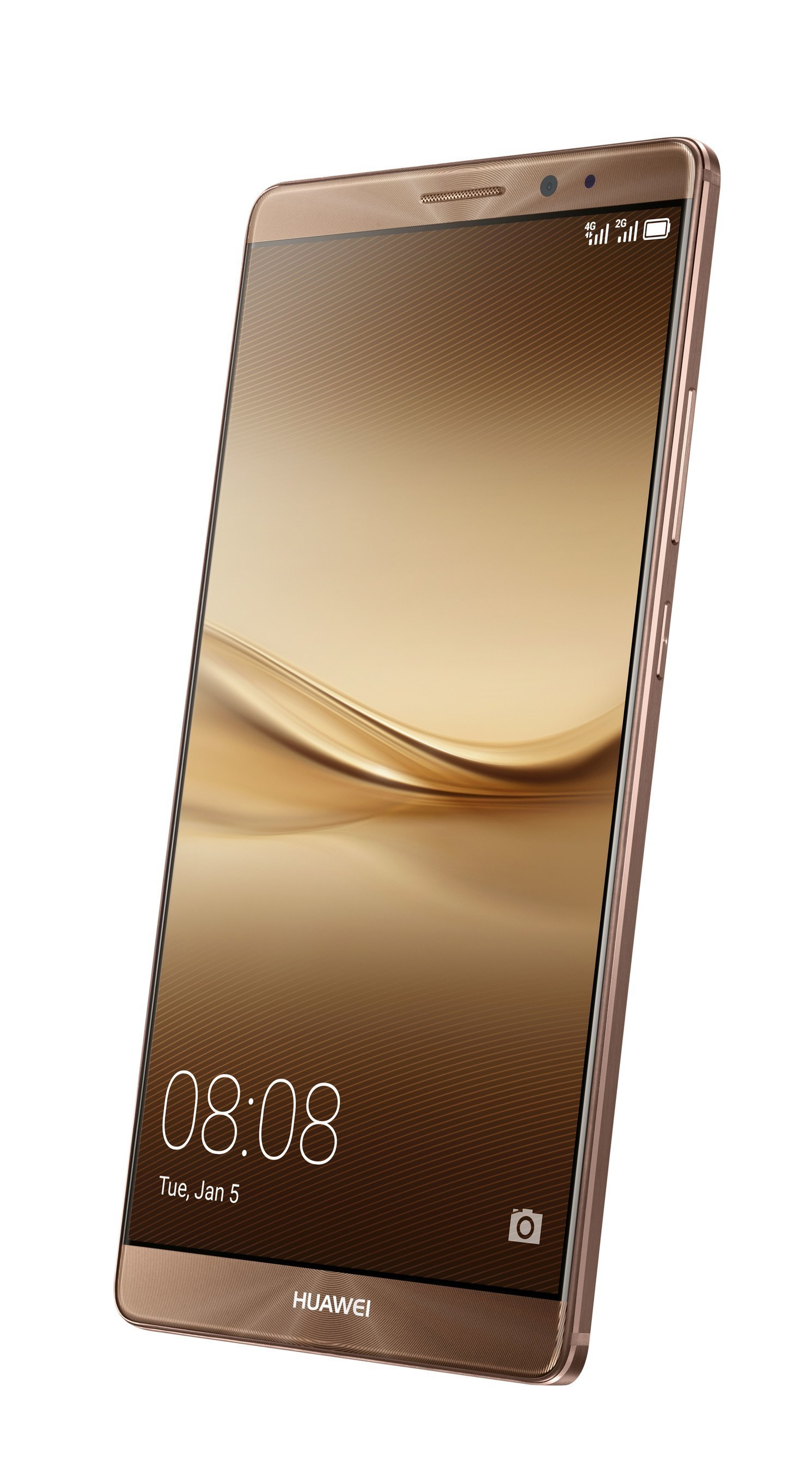The new Huawei Mate 8 smartphone, launched at CES 2016, displayed with the coffee case colour case (PRNewsFoto/Huawei Consumer BG) (PRNewsFoto/Huawei Consumer BG)