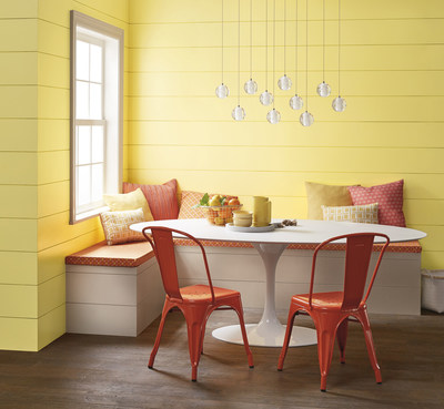 "Lowe's: 3007-4B Daisy Spell/ Ace: VR042E Dear Melissa/ Independent Retailers: V054-1 Dear Melissa/ An airy, luminous yellow comes to light as new technological innovations elevate sensory stimulation. ""This color can fill a room with light and awaken all five senses,"" said Kim."