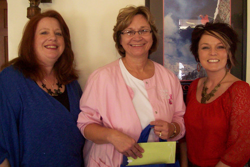 Medical Staffing Network's Shelley Zeigler (l.) and W3D's Misty Stover (r.) present Karla Osman, RN ...