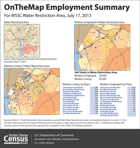 U.S. Census Bureau statistics show that the economic impact of mandatory water restrictions in Prince George's County, Md., could be felt across the region. The statistics - useful to employers, workers, government officials and emergency managers - are captured on the Census Bureau's interactive OnTheMap tool (http://onthemap.ces.census.gov).  (PRNewsFoto/U.S. Census Bureau)