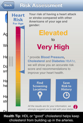 A screenshot of the Heart Health Mobile app displays the risk assessment feature.  (PRNewsFoto/Marshfield Clinic)