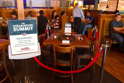Outback Steakhouse(R) extends invitation to the nation's leaders to resolve the government shutdown over a steak dinner, making things just right, without any political rules. A table is reserved at the Arlington, Virginia Outback location.  (PRNewsFoto/Outback Steakhouse)