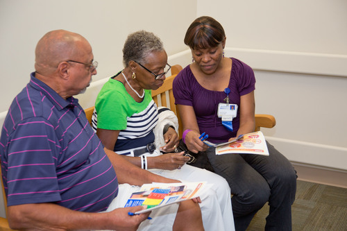 Wallace and Betty Johnson, new residents in the Houston area, completed the free stroke risk assessment with a ...