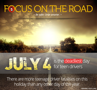 """Be Safer, Drive Smarter"" - Driving-Tests.org to launch PSA campaign for teen drivers in anticipation of July 4 holiday, the deadliest driving day of the year for teenage drivers.  (PRNewsFoto/Driving-Tests.org)"